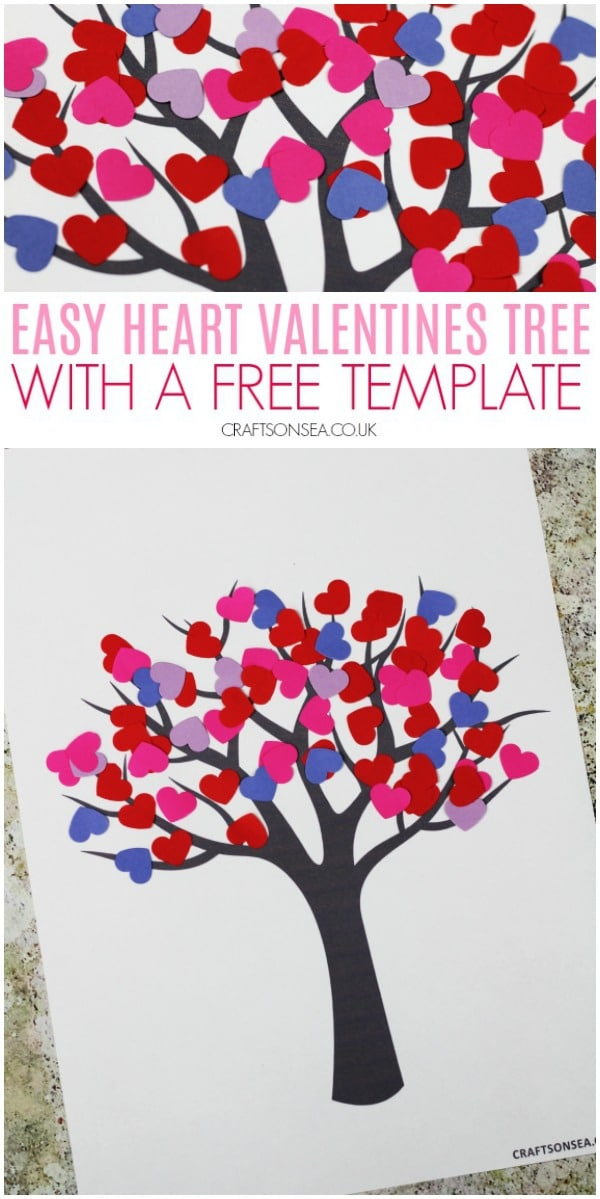 paper heart valentines tree craft for kids #kidscrafts