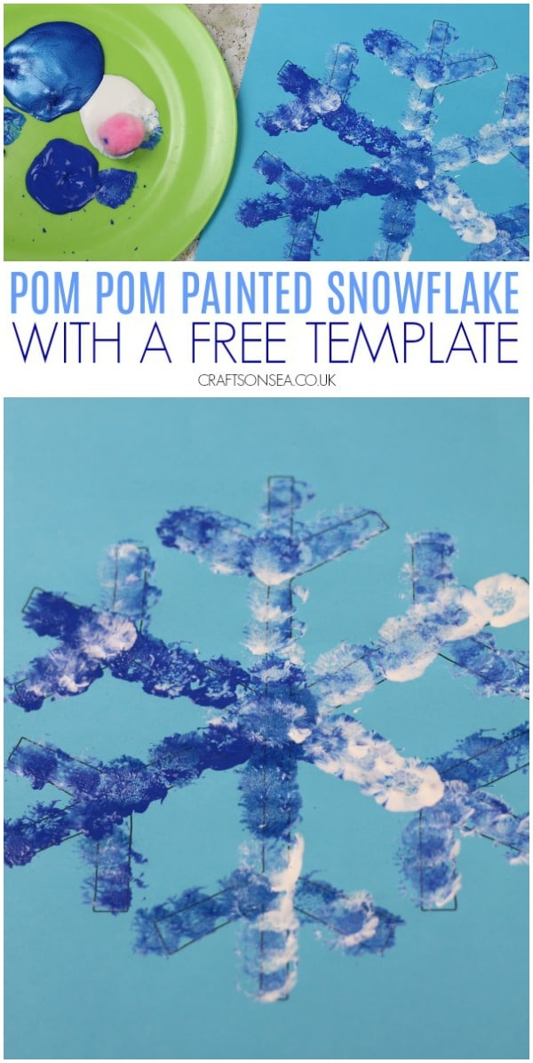 pom pom printed easy snowflake craft for kids #kidscrafts