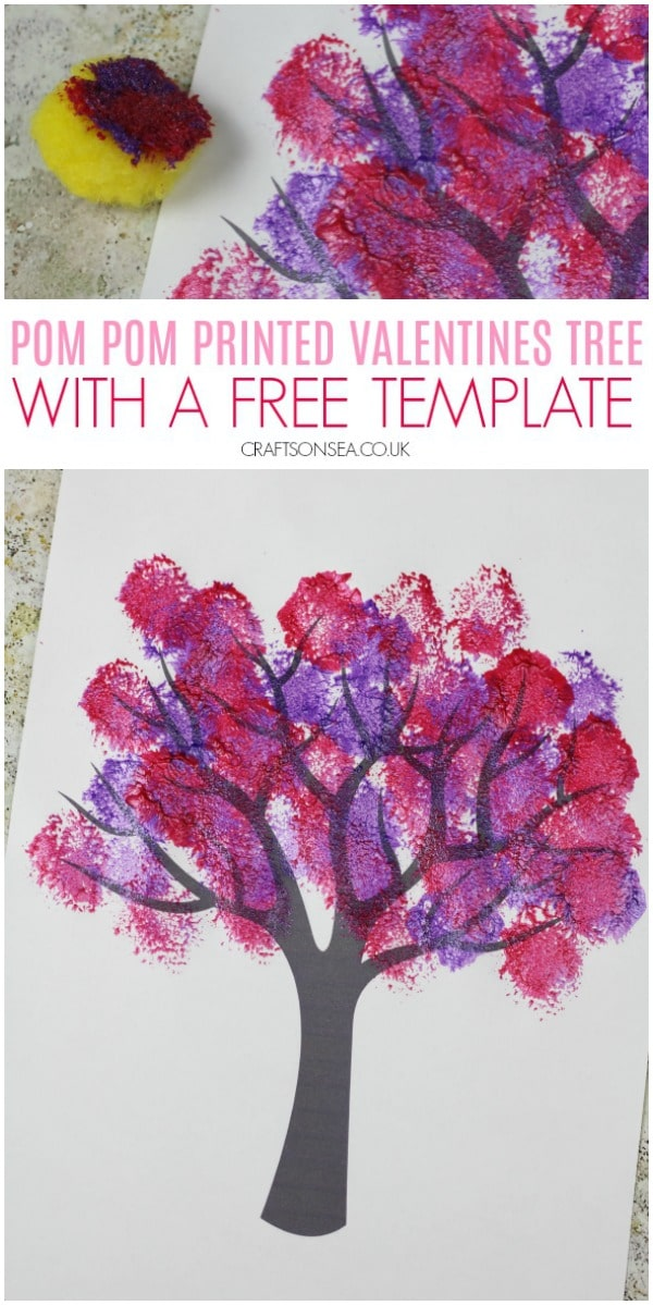 pom pom printed valentines day tree craft for kids
