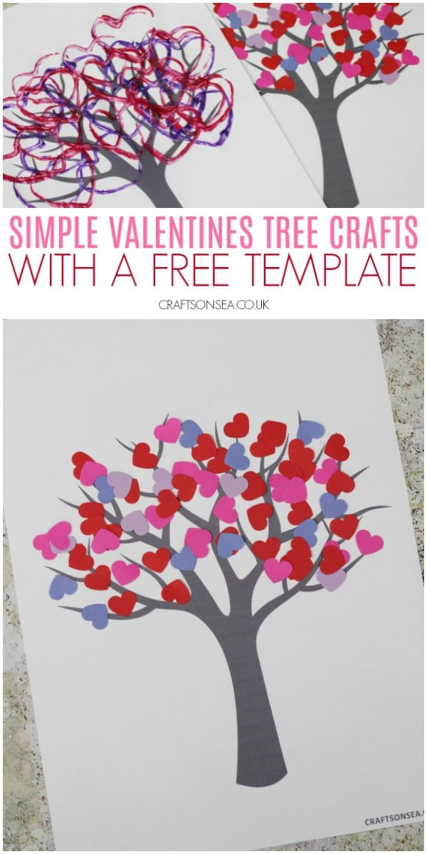 valentines tree crafts kids free template #kidscrafts #valentinescrafts