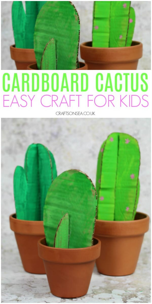 Ad. Make some easy crafts for kids this craft term with Ebay.co.uk and create a cardboard cactus craft #kidscrafts #kidsactivities