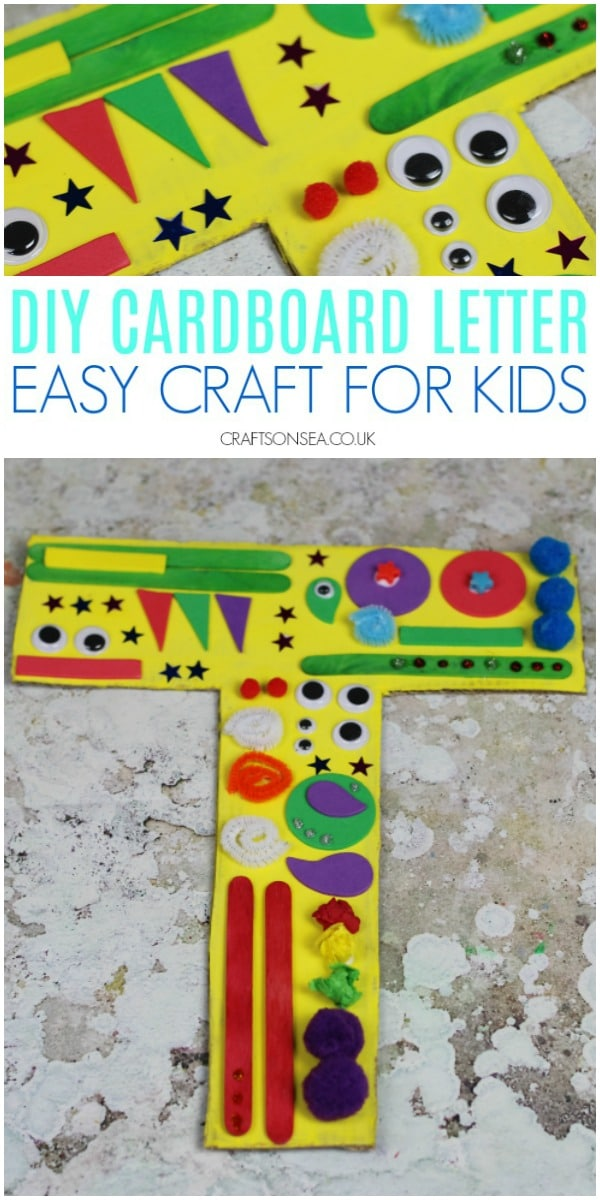 Ad. This Craft Term grab a craft kit from Ebay.co.uk and make a cardboard initial a easy cardboard box craft for kids #kidscrafts #kidsactivities
