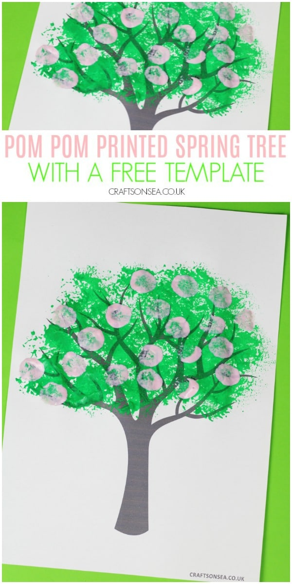 pom pom printed spring tree craft for kids preschool toddlers #kidscrafts #springcrafts