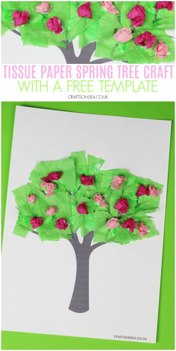 tissue paper spring tree craft for kids #kidscrafts #preschool