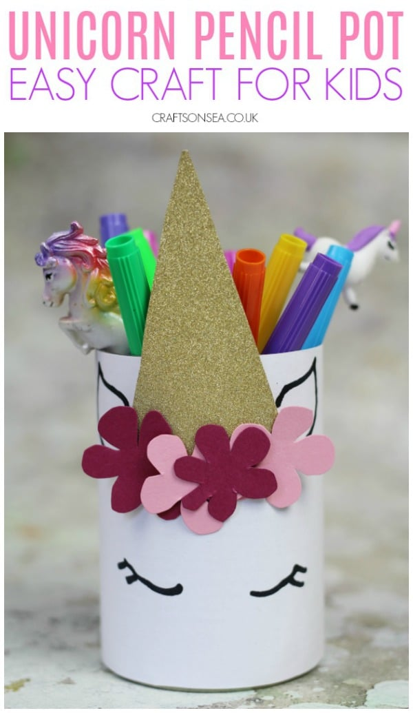 Ad. Have fun this Craft Term with Ebay.co.uk and make this DIY unicorn pencil pot an easy craft for kids #kidscrafts #kidsactivities