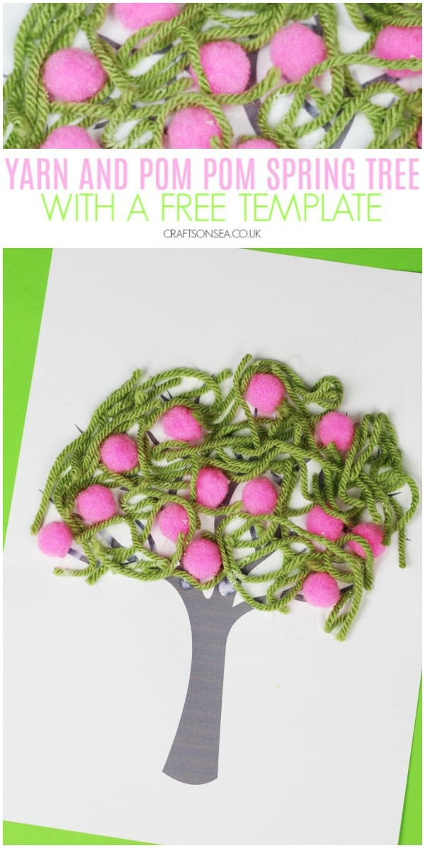 yarn and pom pom spring tree craft for kids preschool toddler #kidscrafts #spring