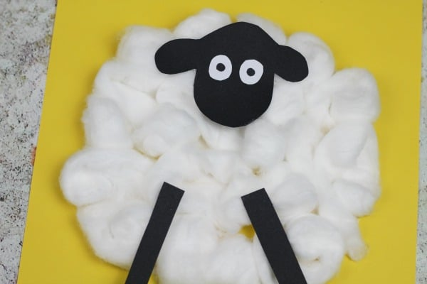 cotton ball sheep craft for preschoolers