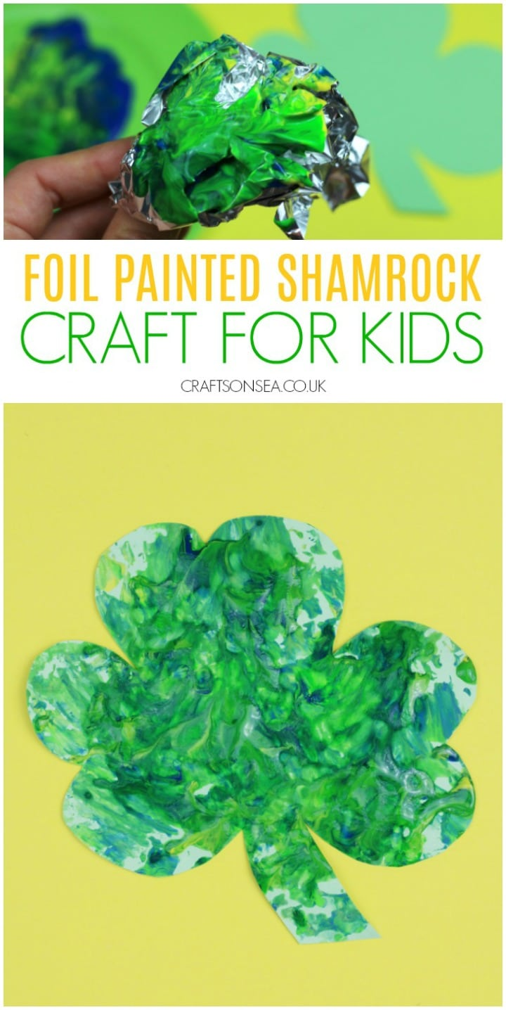 foil painted shamrock craft for kids st patricks day easy