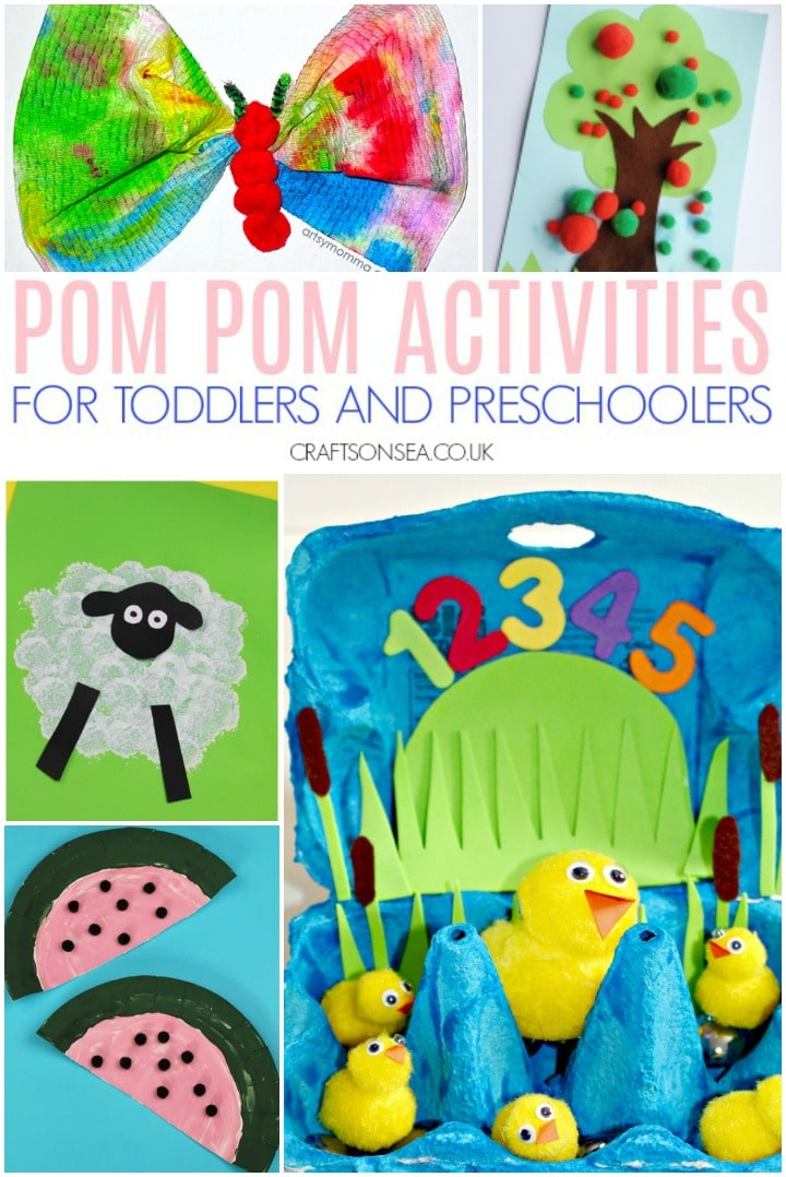 pom pom activities and crafts for toddlers and preschoolers to make