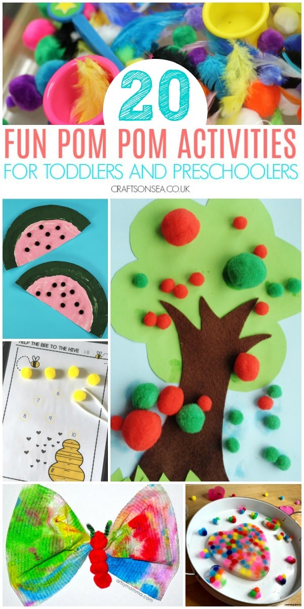 pom pom activities for toddlers preschoolers fun