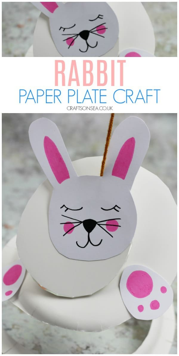 rabbit paper plate craft for kids easter spring