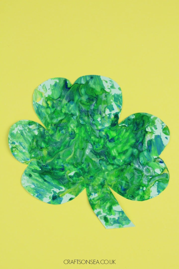 shamrock crafts for kids foil painted