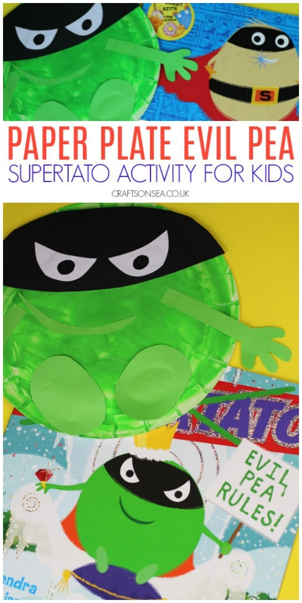 supertato activities ideas evil pea paper plate craft for kids