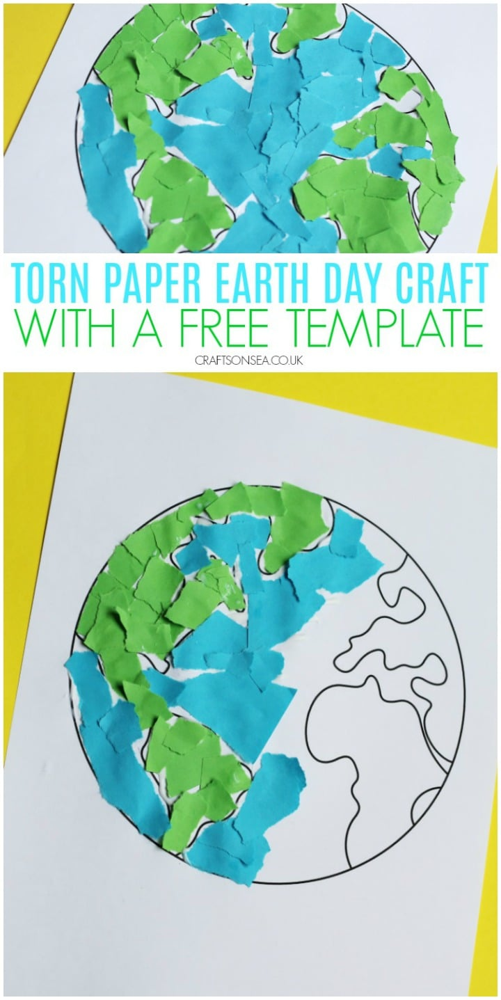 earth day craft for kids torn paper with a free template preschoolers easy