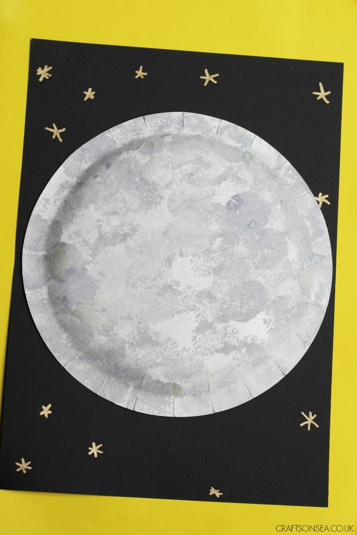 moon craft ideas pom pom painting
