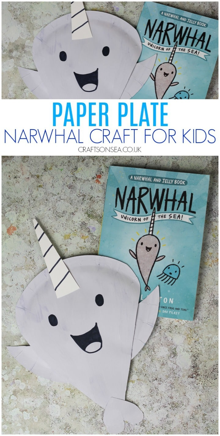 narwhal craft for kids paper plate easy