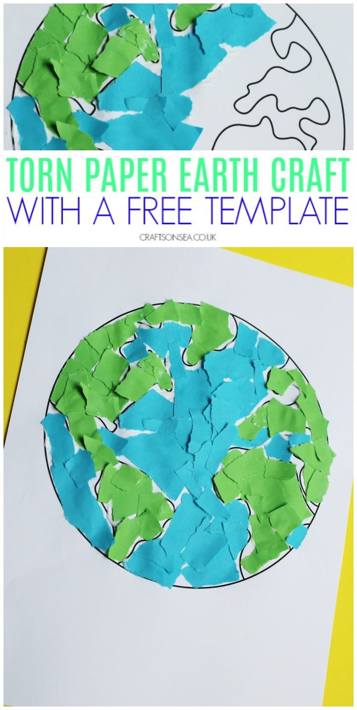 torn paper earth day craft for kids fine motor
