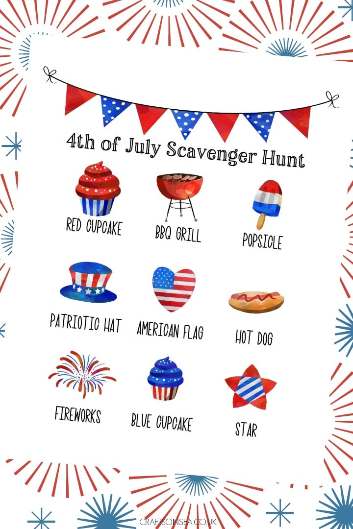 4th of July Scavenger Hunt for Kids with a free printable