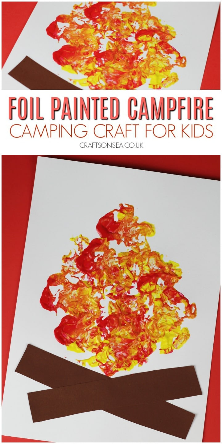 campfire craft idea preschool painting with foil
