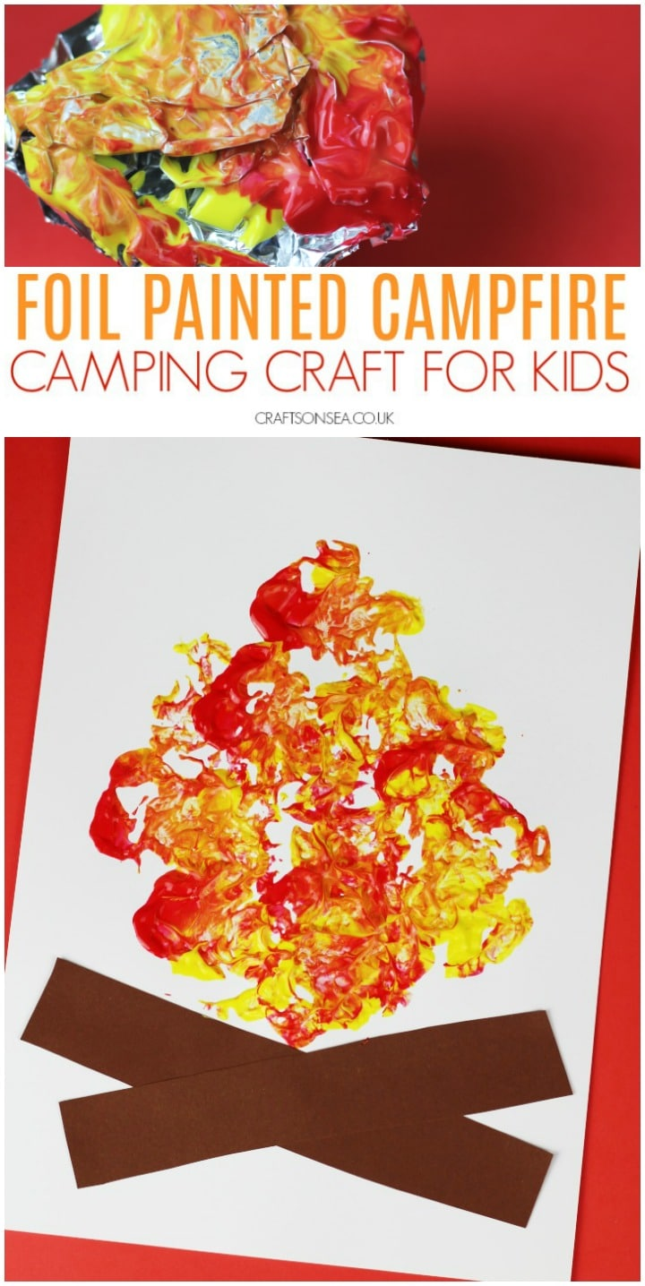 camping crafts for kids preschool toddlers foil painted campfire