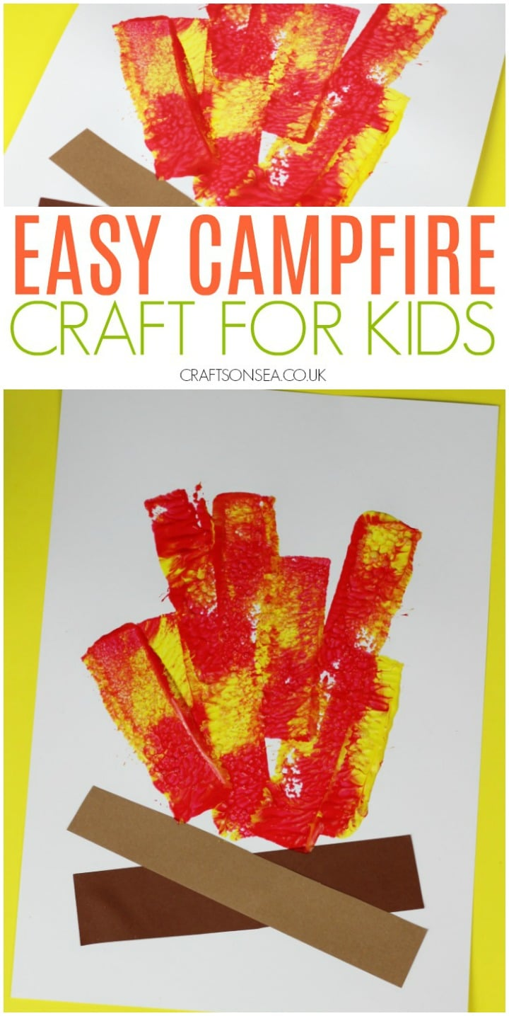 easy camping crafts for kids campfire preschool toddlers