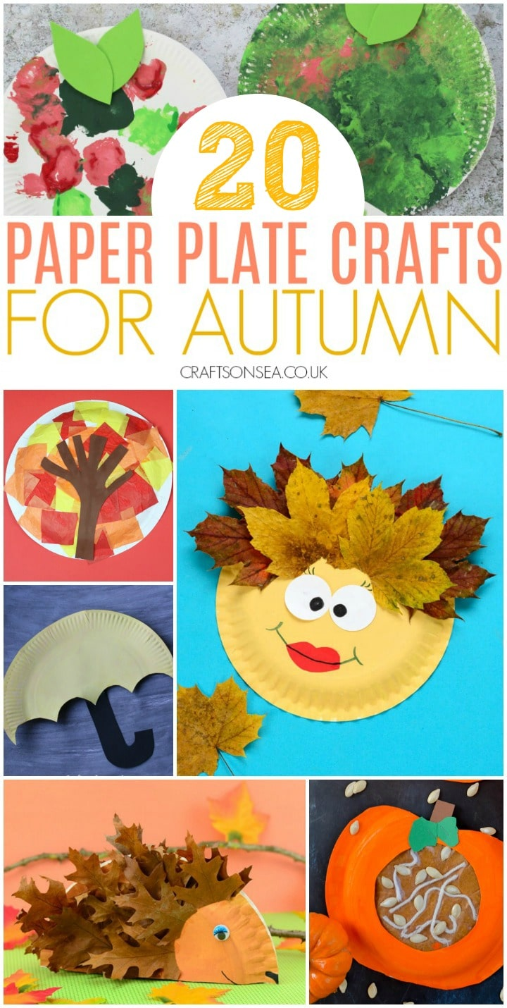 collage of autumn crafts for kids using paper plates
