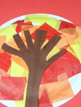 autumn fall tree paper plate craft