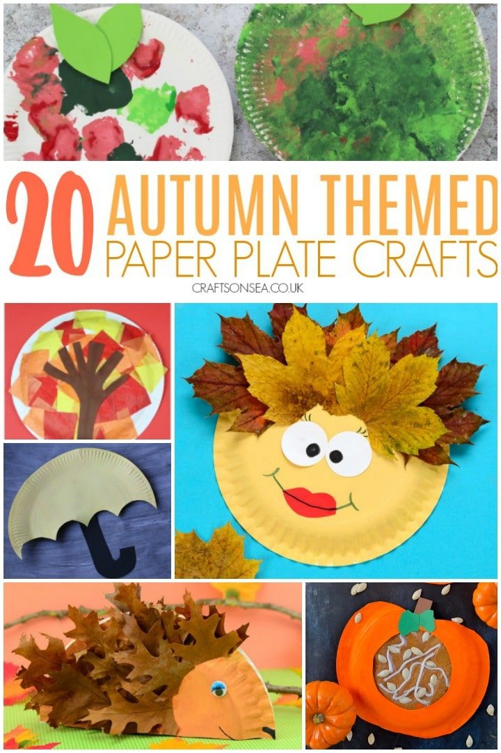 collage of autumn crafts for kids made with paper plates including hedgehogs and autumn trees