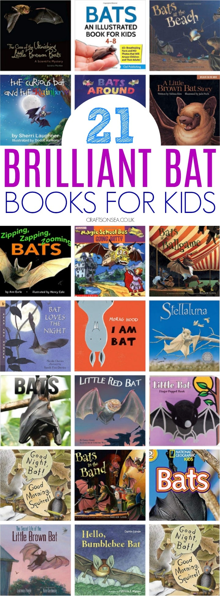 collage of bat books for kids, preschool and first graders