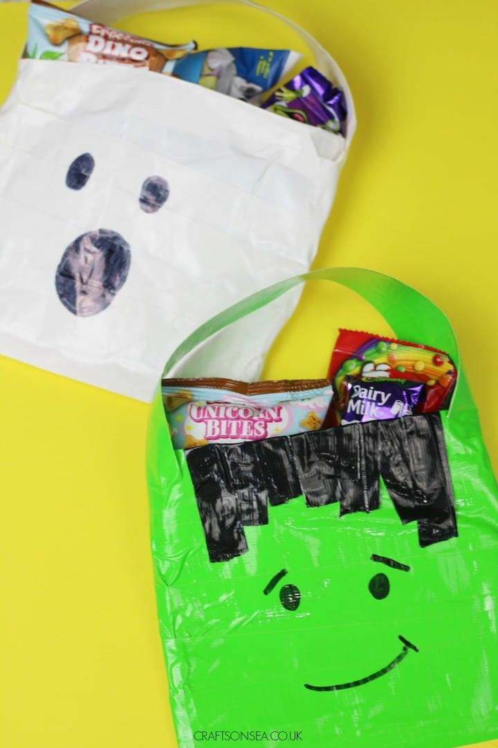 duck tape halloween craft for kids ghost and frankenstein