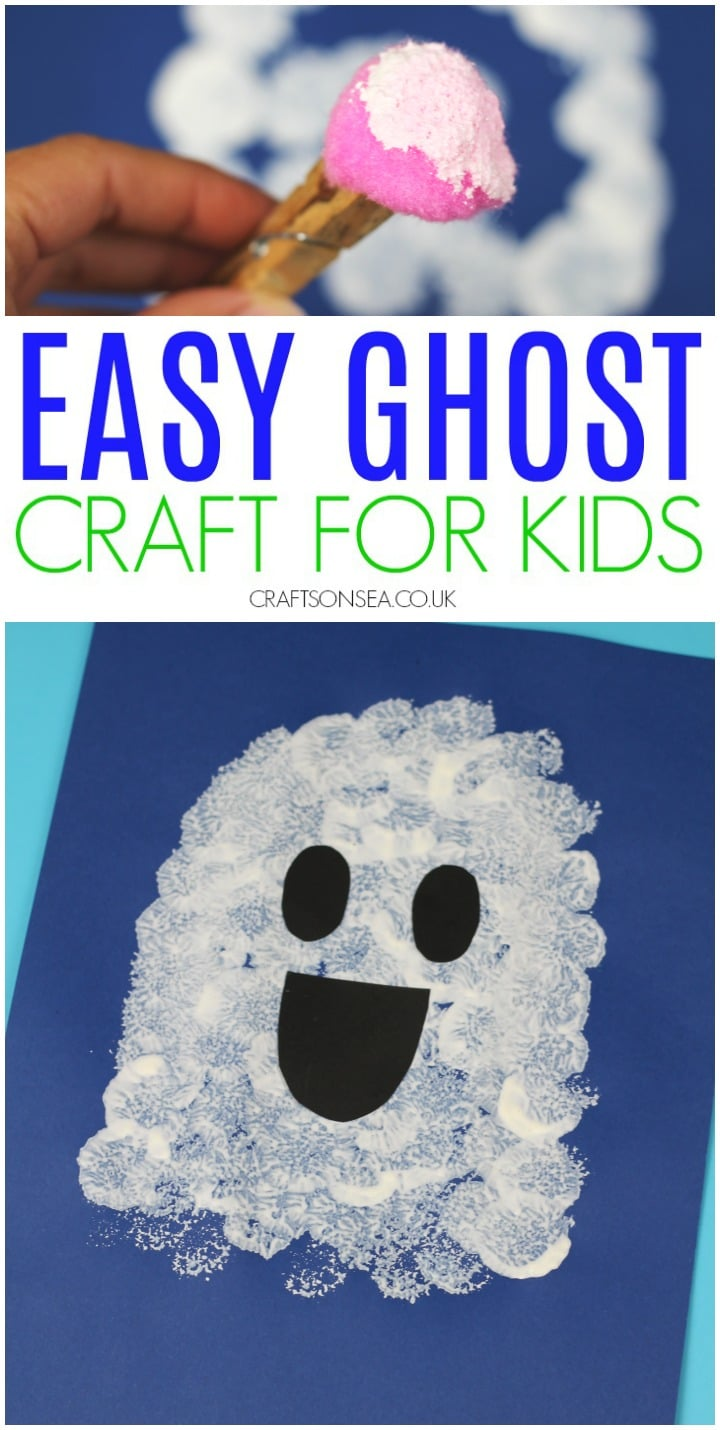 ghost craft for kids easy halloween activity for toddlers and preschool