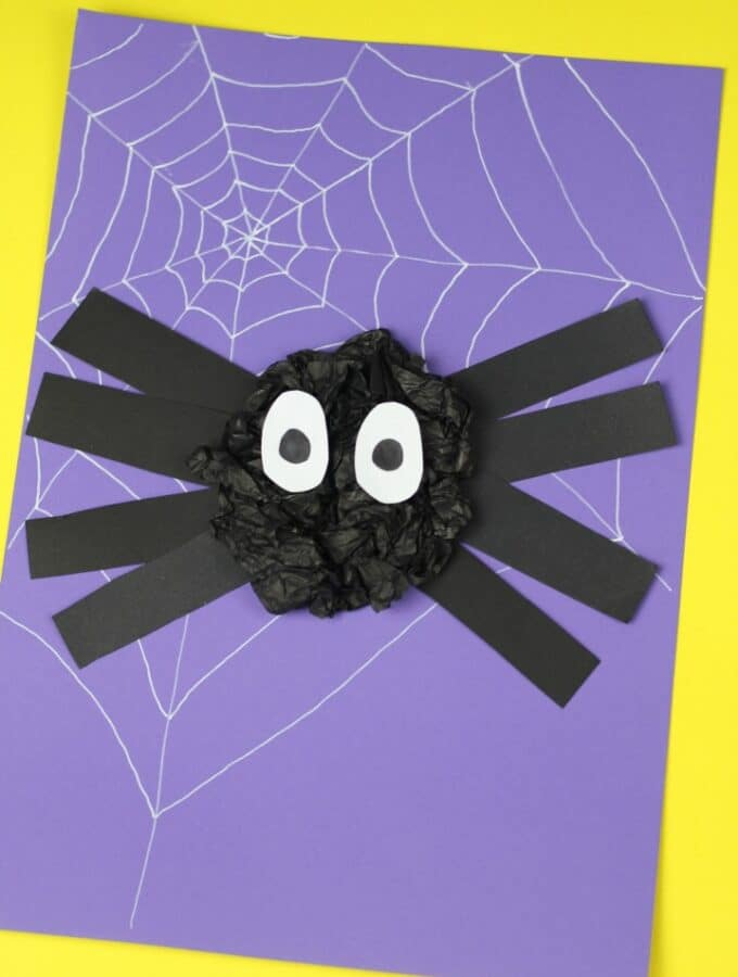 spider craft for kids suitable for preschool or eyfs using scrunched paper
