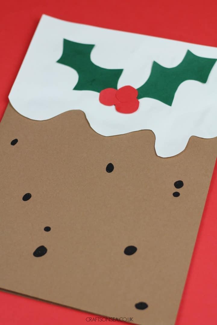 christmas cards kids can make christmas pudding design