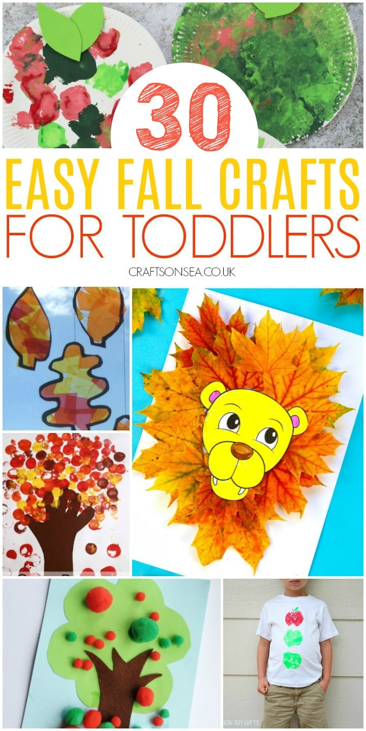 collage of easy fall crafts for toddlers including leaf crafts and fall tree crafts