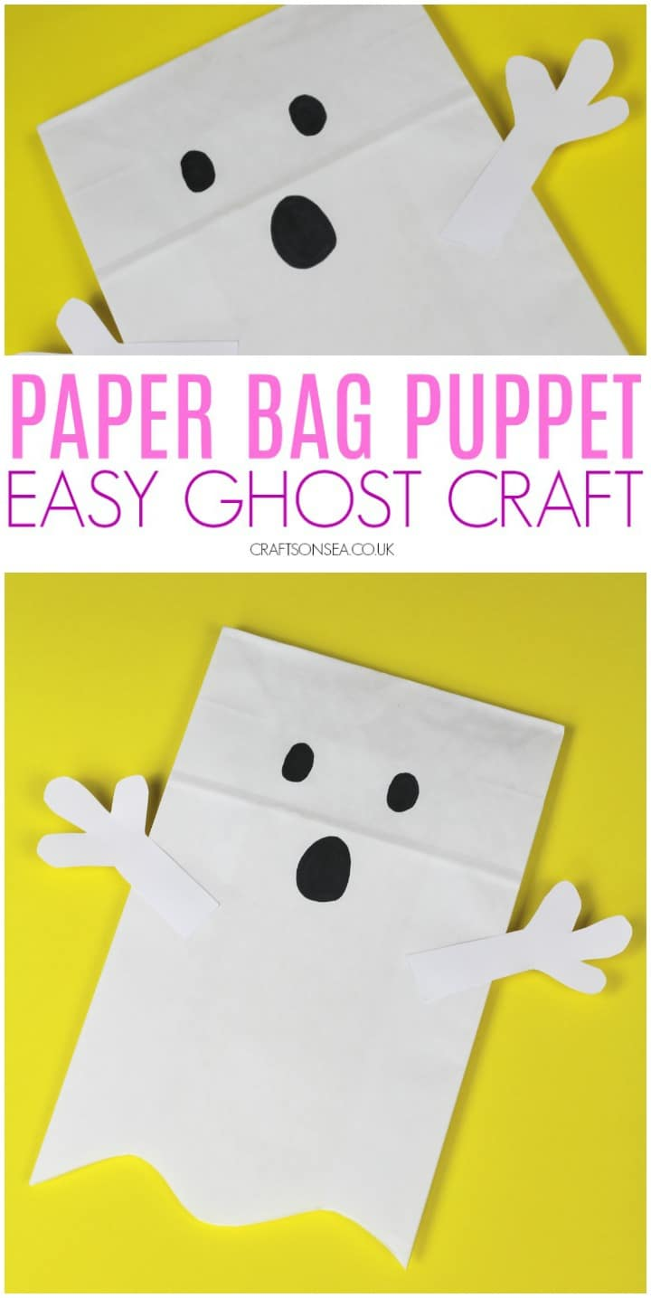 easy ghost craft for halloween paper bag puppet