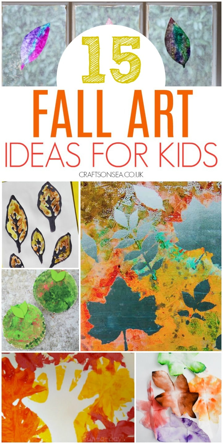fall art ideas for kids with leaf art tree art and apple art