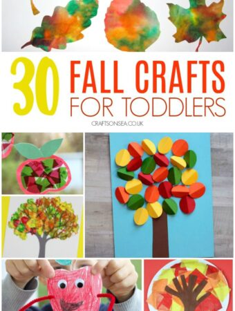collage of fall crafts for toddlers suitable for one two and three year olds