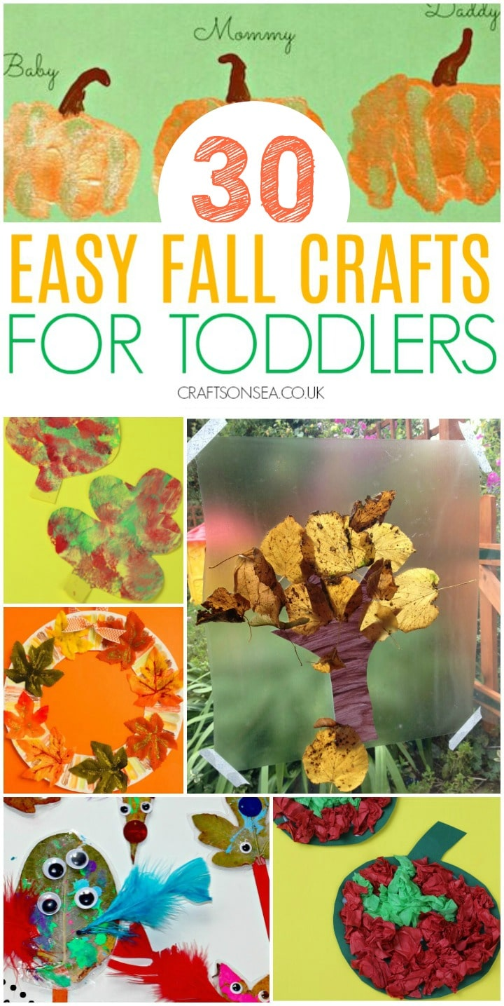 collage of fall crafts for toddlers to make including leaf crafts, trees and a fall wreath