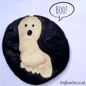 ghost keepsake craft using saltdough and footprints