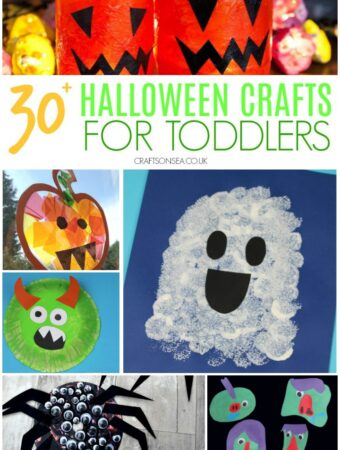 collage of halloween crafts for toddlers one two three year olds with ghost pumpkin and monster crafts