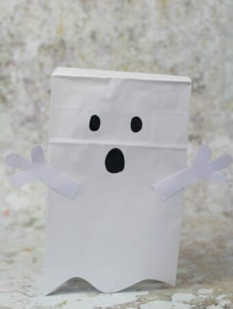 paper bag ghost puppet craft for kids