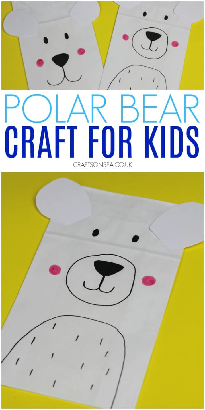 polar bear craft for kids made from a paper bag