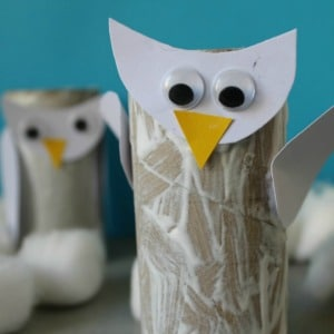 toilet roll snowy owl craft for kids