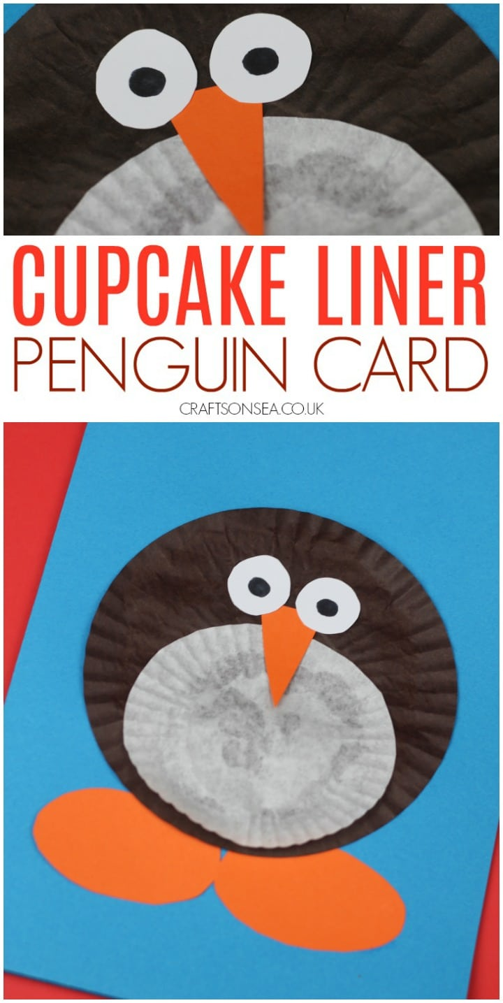 Christmas cards for kids to make easy penguin craft using cupcake liners
