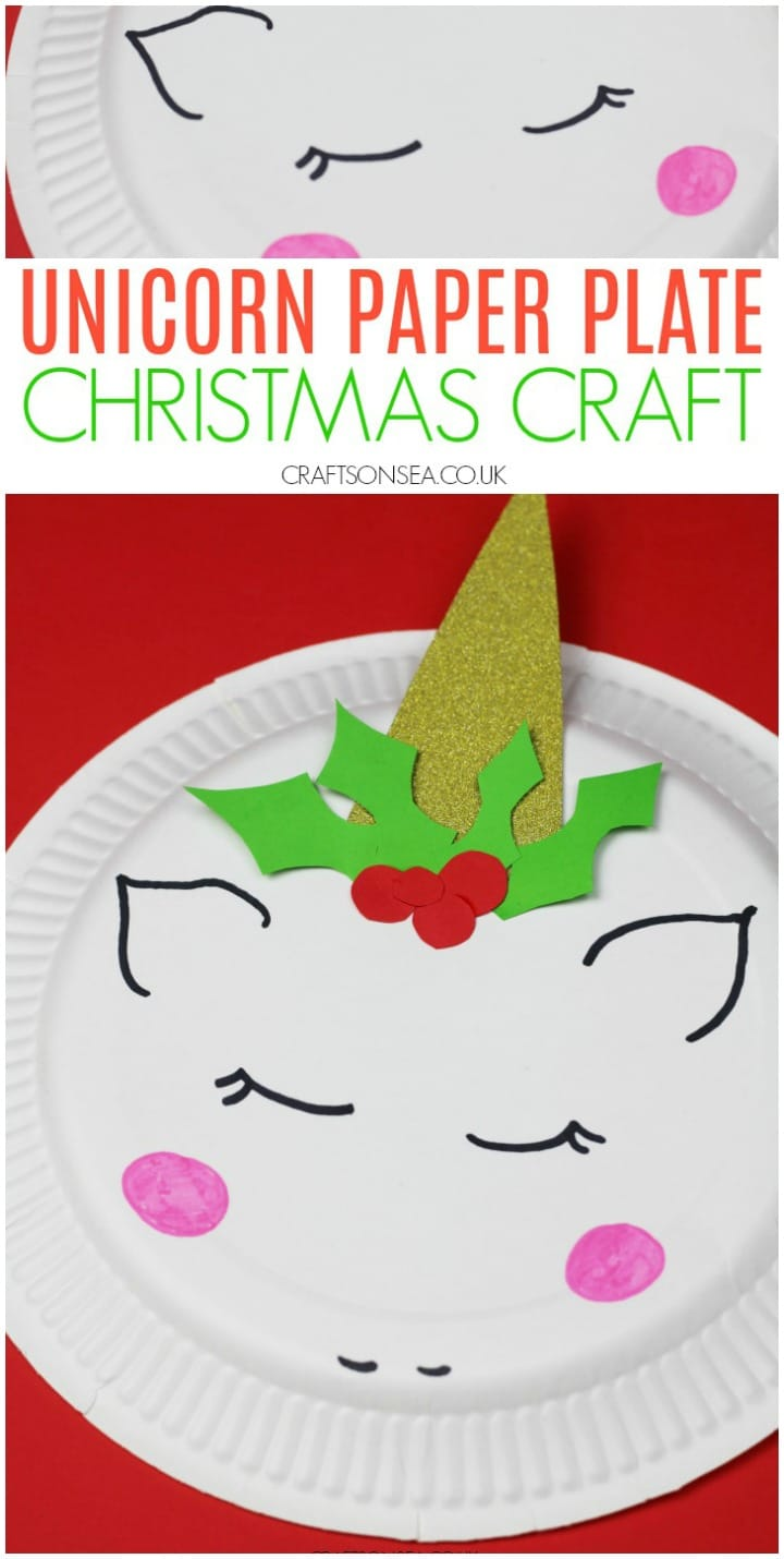 Paper plate Christmas unicorn craft for kids