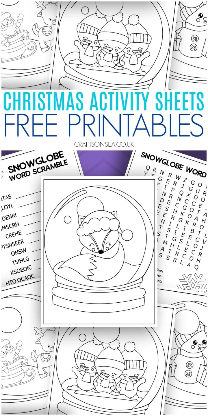Snowglobe Christmas activity sheets for kids free printables