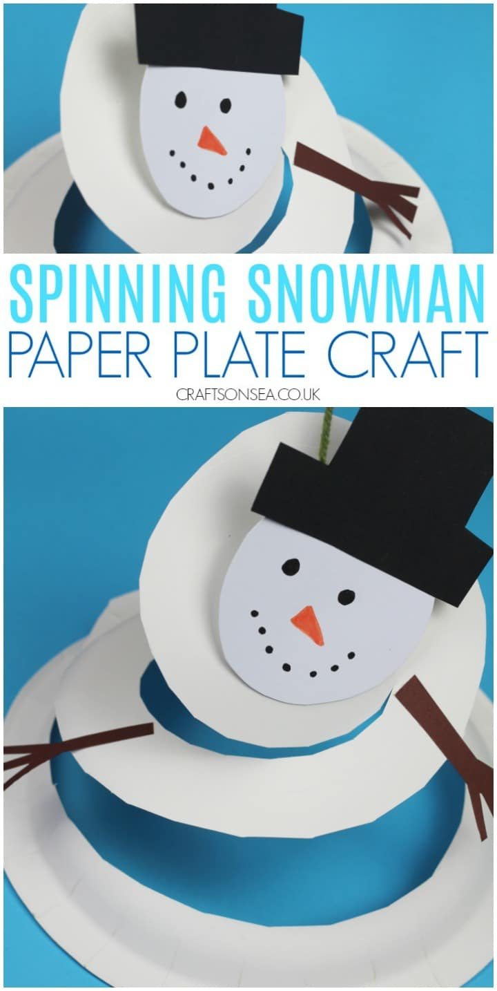 Spinning snowman paper plate craft for kids