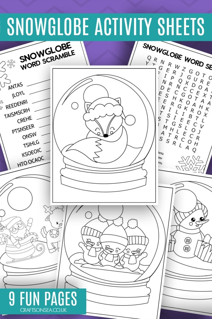 christmas activity sheets for kids free printable snowglobe designs