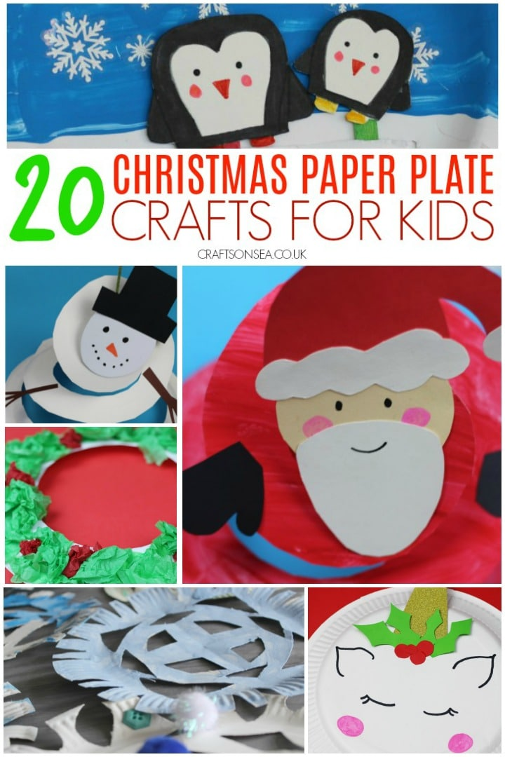 easy christmas paper plate crafts santta snowman wreath snowflakes