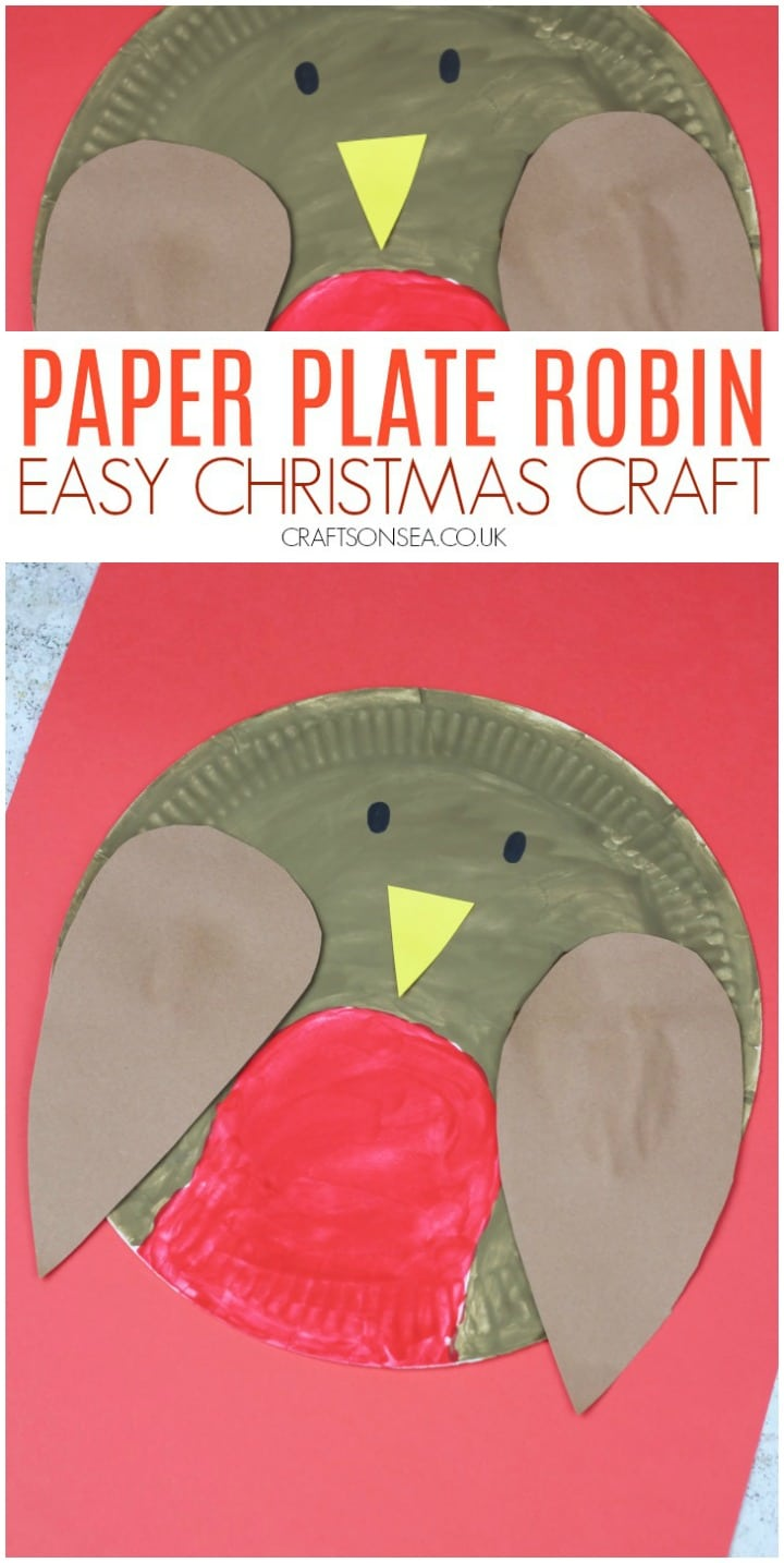 paper plate craft for kids christmas robin